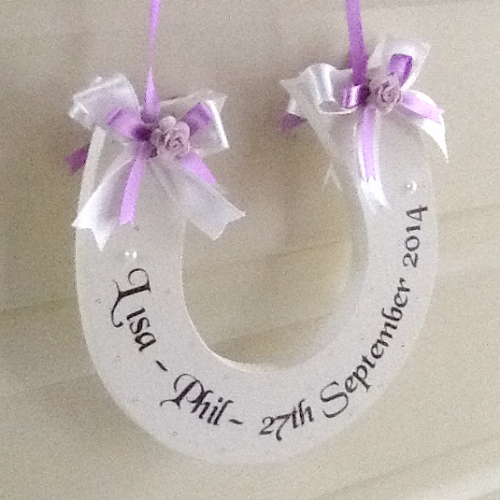 Personalised Wedding Horseshoe Gift -Ivory & Lilac